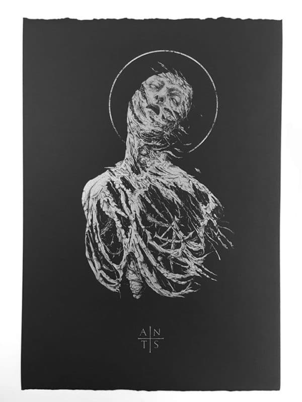 Antaeus Extase by Dehn Sora, silver ink on black paper, detail 1
