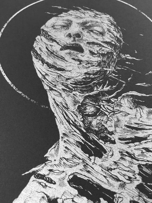 Antaeus Extase by Dehn Sora, silver ink on black paper, detail 2