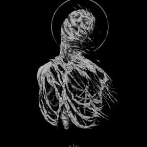 Antaeus Extase by Dehn Sora, silver ink on black paper