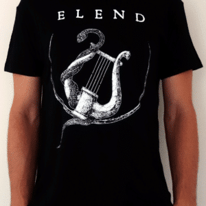 Elend-black-tee-shirt-white-lyre-front